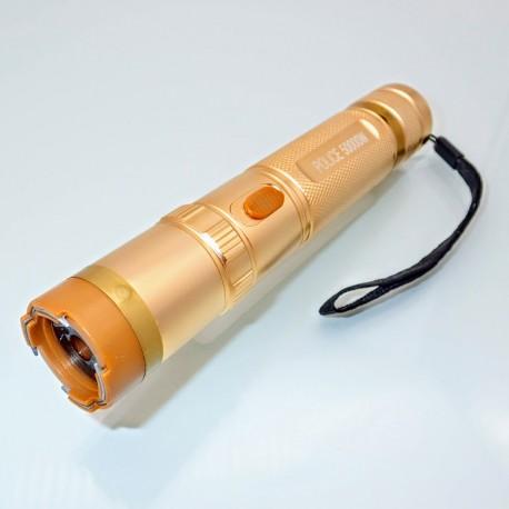 S15.2 Stun Gun + LED Flashlight POLICE 4 in 1 Gold